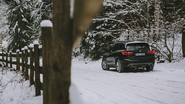 bmw car snow winter