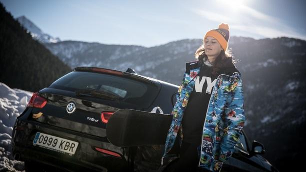 woman bmw snow winter
