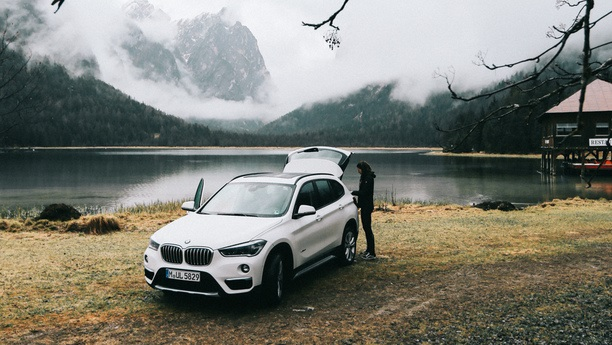 woman bmw x1 autumn