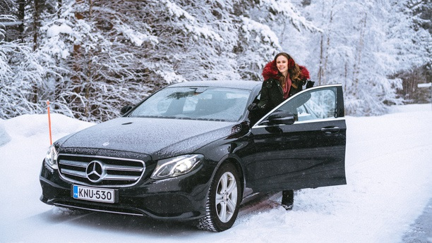 woman car snow winter