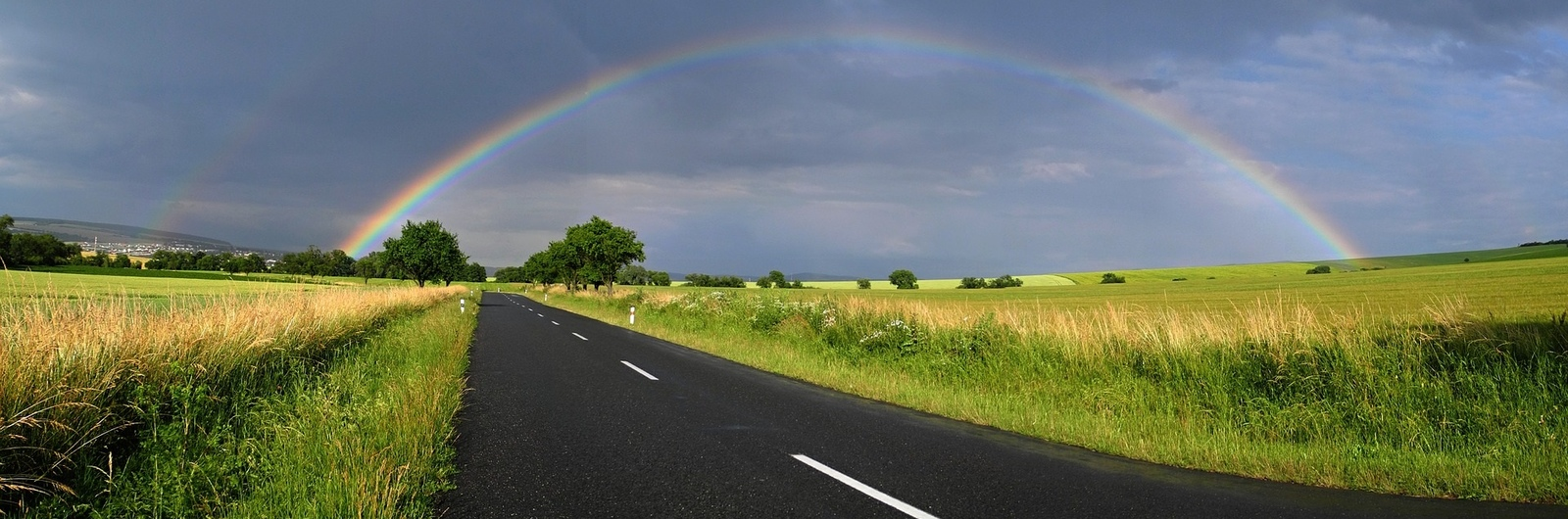 city header czech republic road rainbow