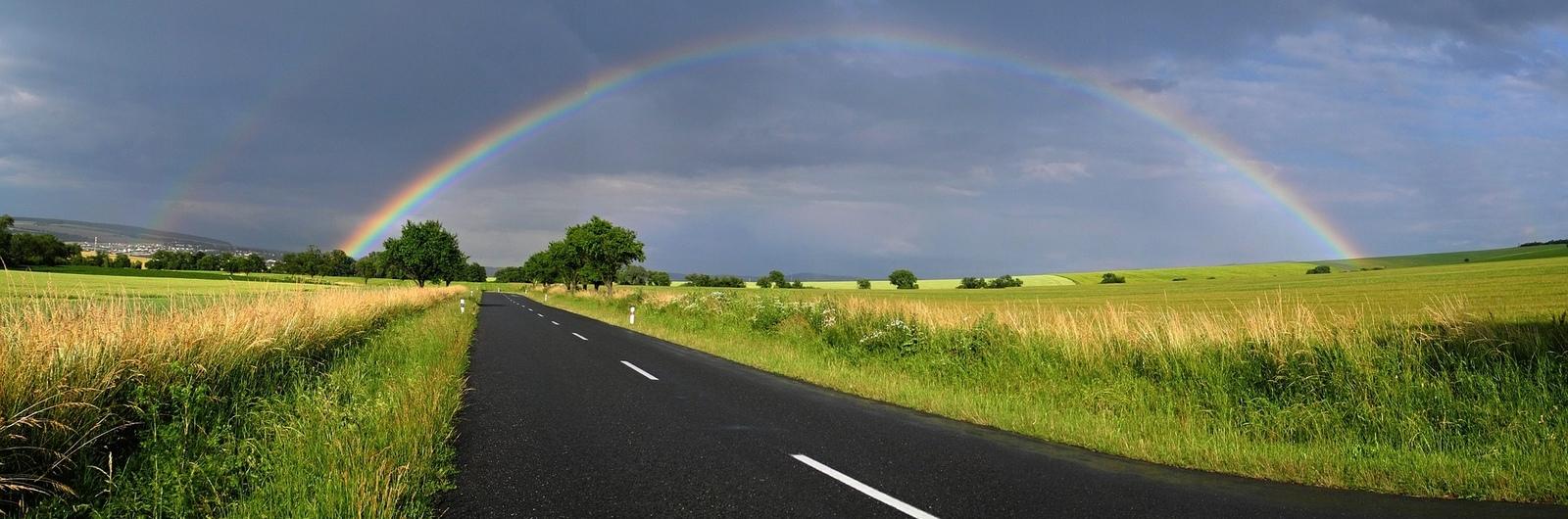 city header czech republic road rainbow