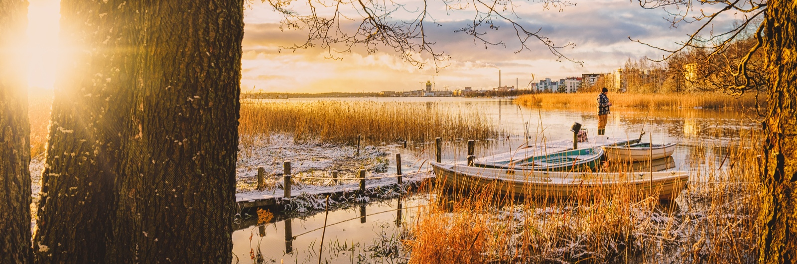city header finland lake snow