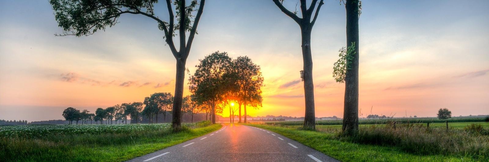 city header netherlands road sunset