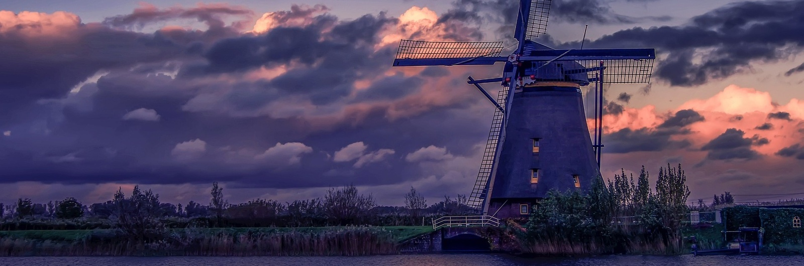 city header netherlands windmill