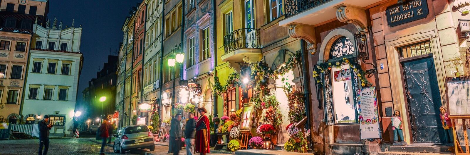 city header poland street night