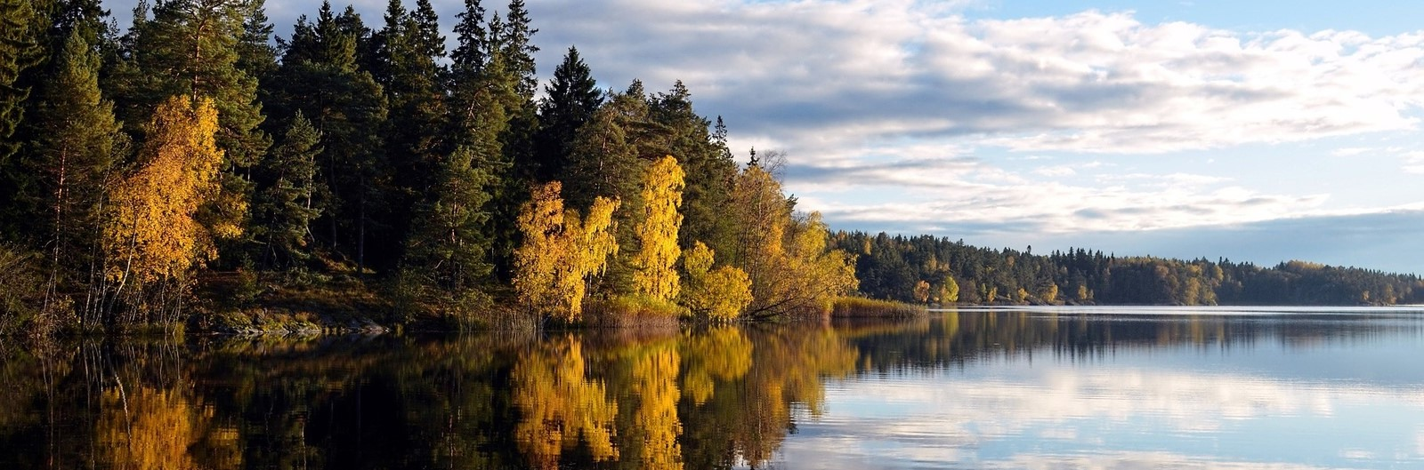 city header sweden autumn lake