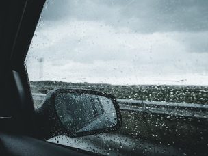 car window rain road