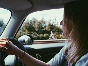 woman driving trip