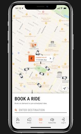 US ride taxi app