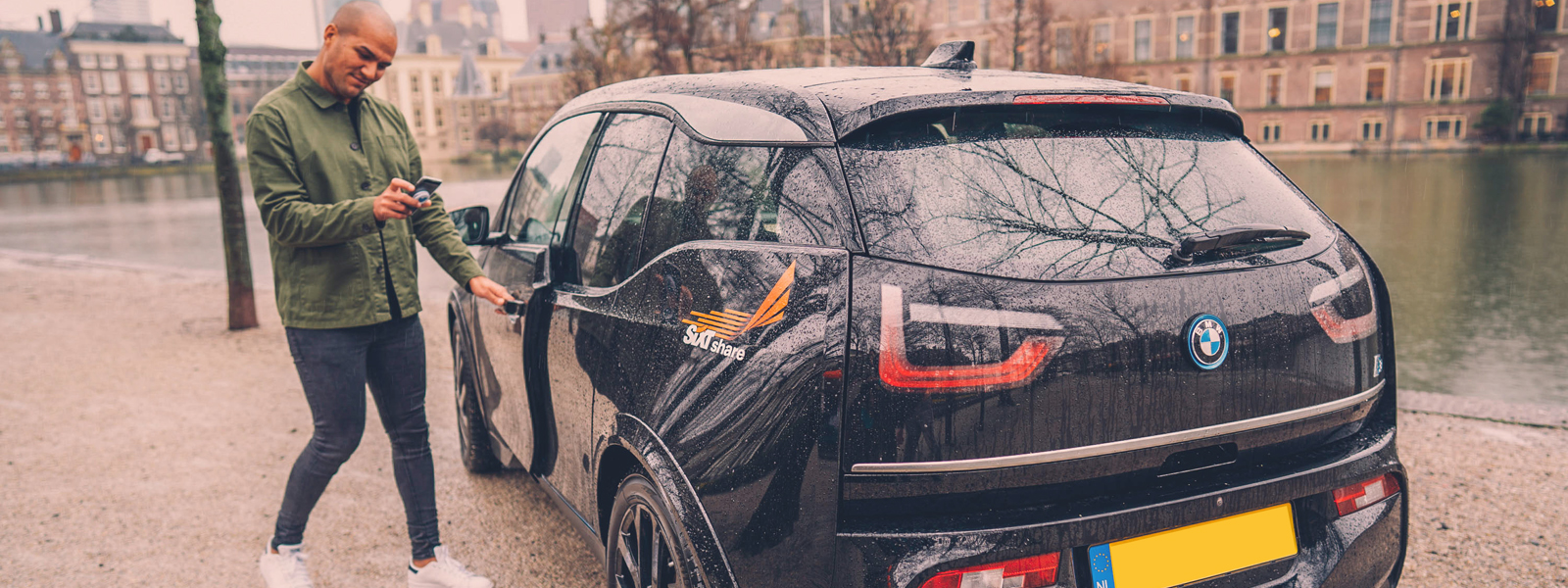 sixt share carsharing in den haag bmw i3 gracht